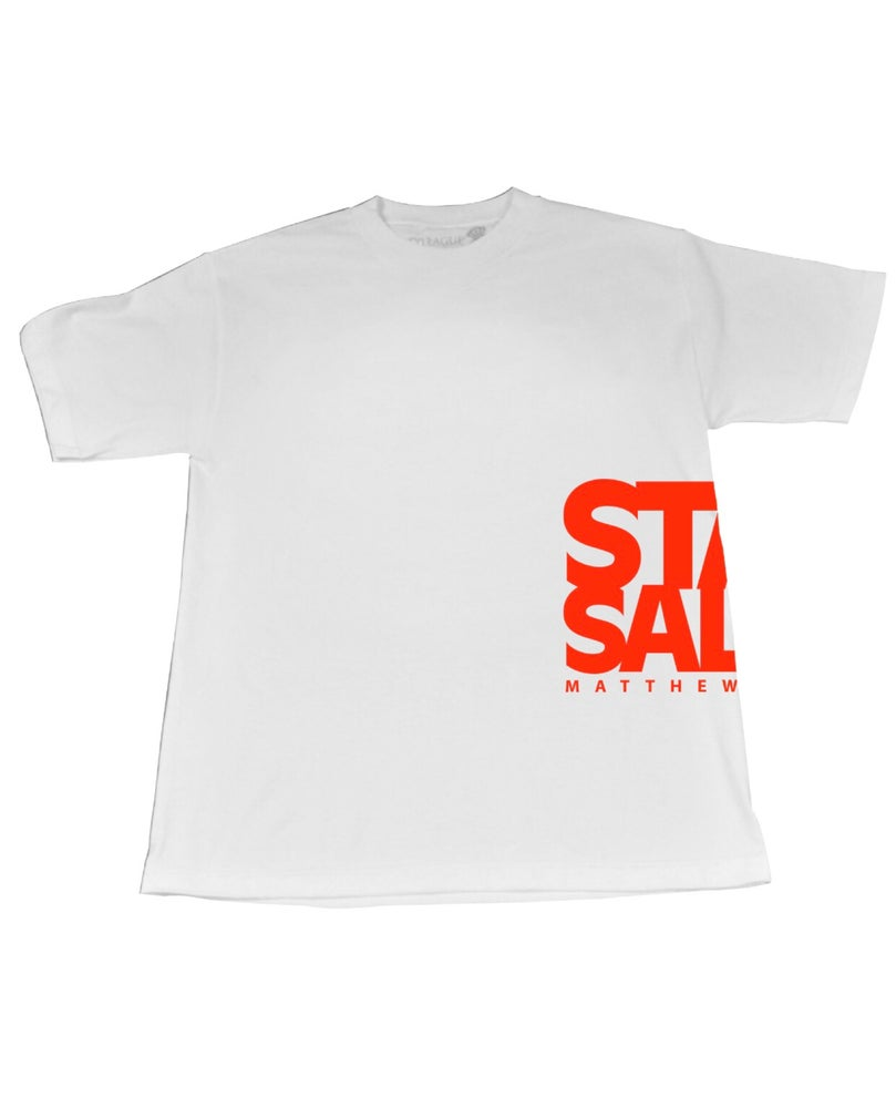 Image of StaySalty513 - Side Logo Print (white/turbo red)
