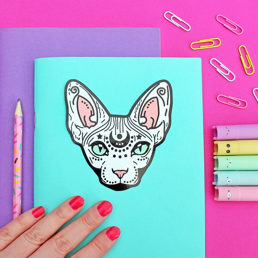 Image of Mystical Sphynx Cat, Die Cut Vinyl Sticker - 10cm - Cat Sticker