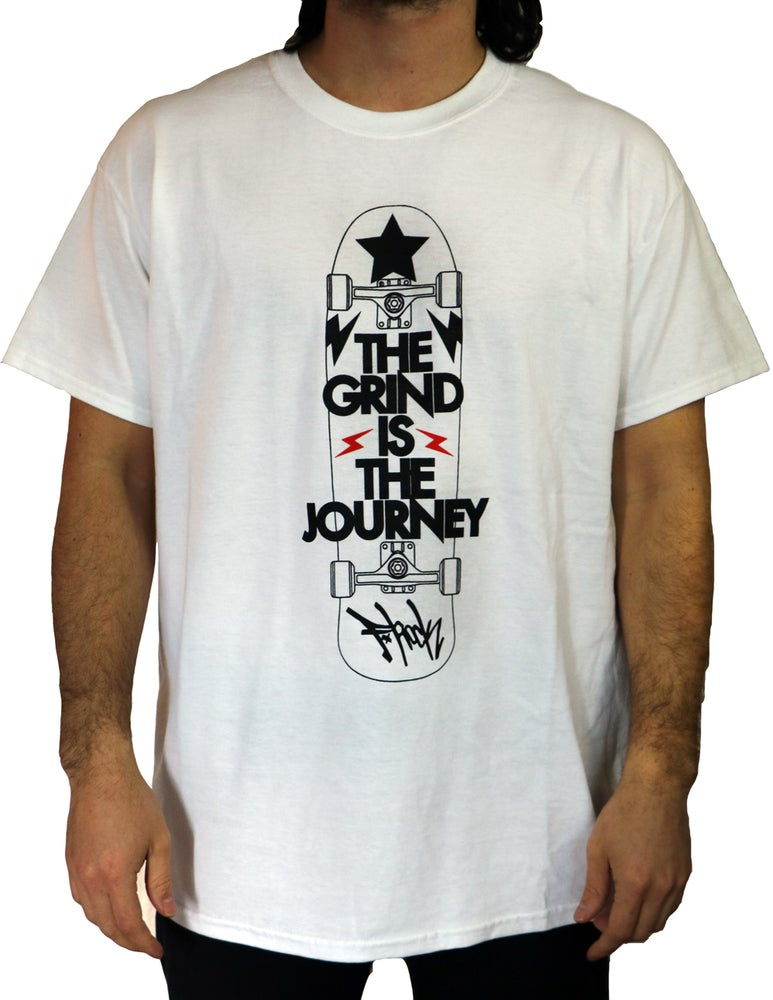 Image of The Grind Is The Journey Tee - White/Black/Red