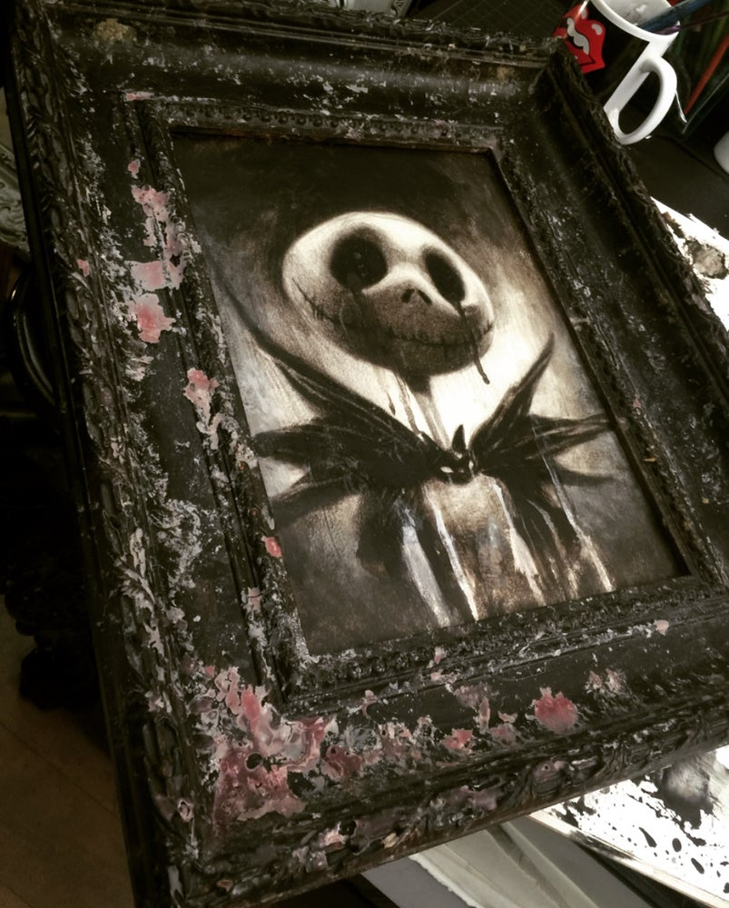 Image of 'THE PUMPKIN KING { CRYING JACK }' [ Unique Print - { 1/1 } ] Hand Embellished Museum Archival Print