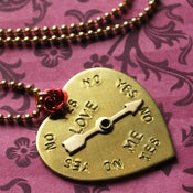 Image of Love me Love me Not spinner heart necklace with rose