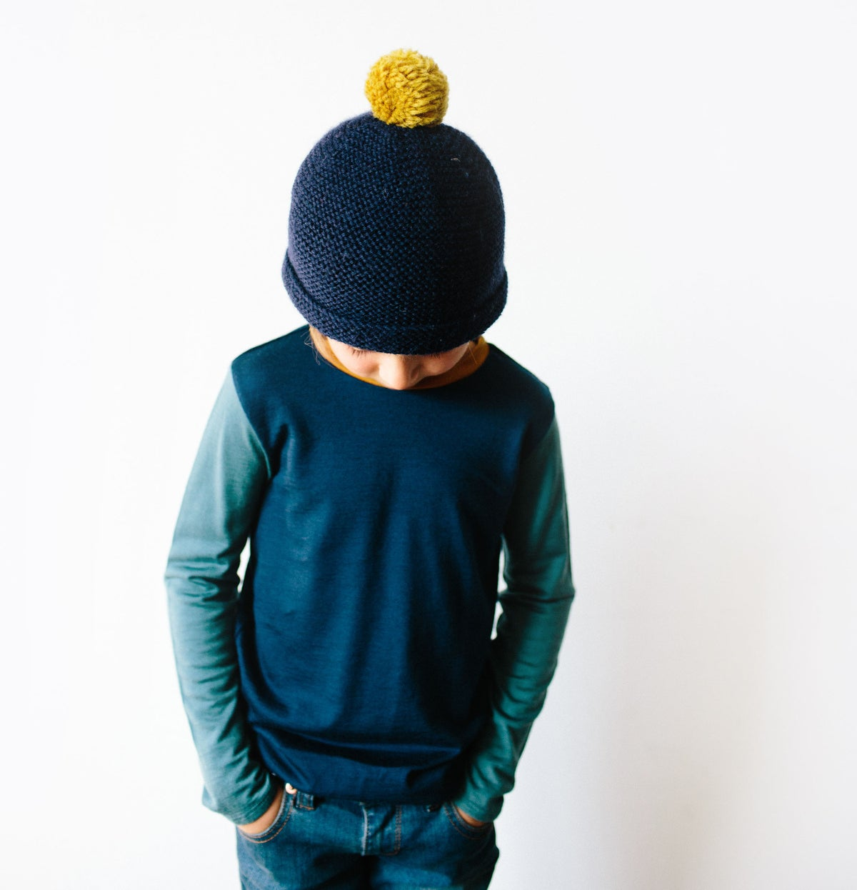 Image of Navy merino top with dusty blue sleeves