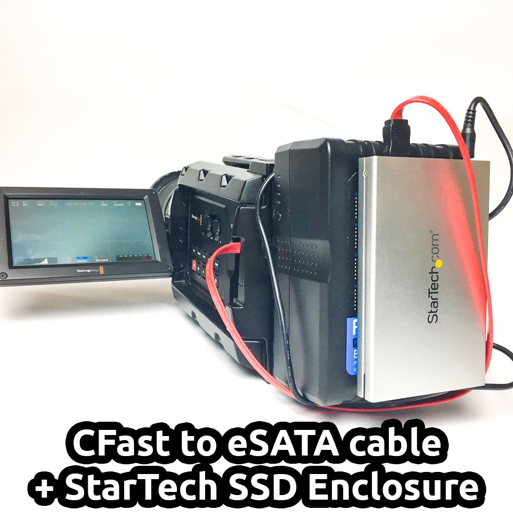 Image of CFAST to eSATA cable with SSD enclosure for Blackmagic Ursa, Mini, Pro,