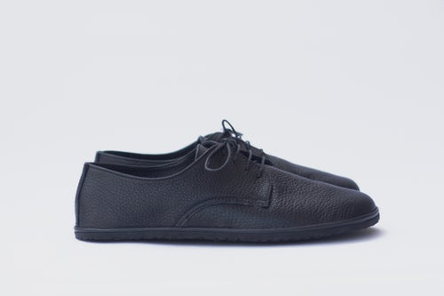 Image of Plain Toe Derby in Pebbled Black