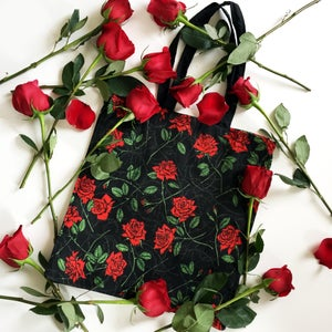 Image of ROSES AND BARBED WIRE TOTE BAG