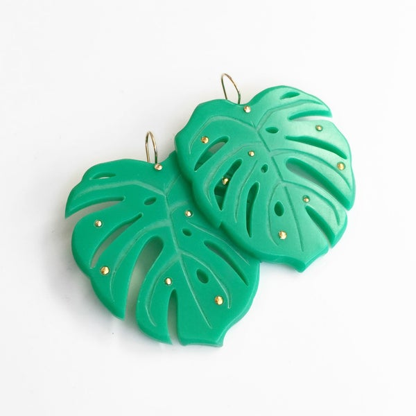 Image of Monstera Leaf Earrings | Large