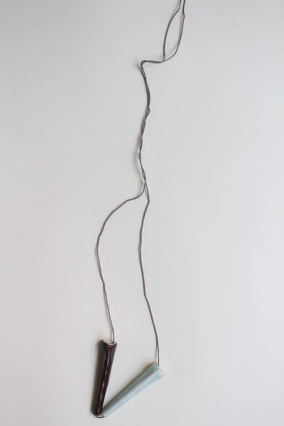 Image of Porcelain necklace, silk chord in cloud (3)