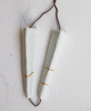 Image of Porcelain necklace, kintsugi, silk chord in cloud