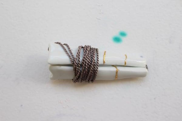 Image of Porcelain necklace, kintsugi, silk chord in cloud