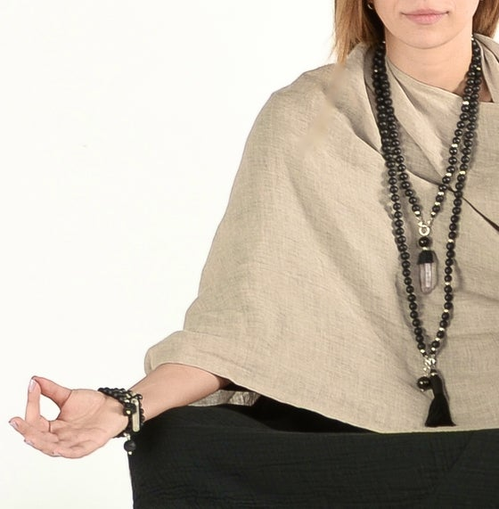 "Image of ""Desert Sand"" Linen Six Point Shawl"