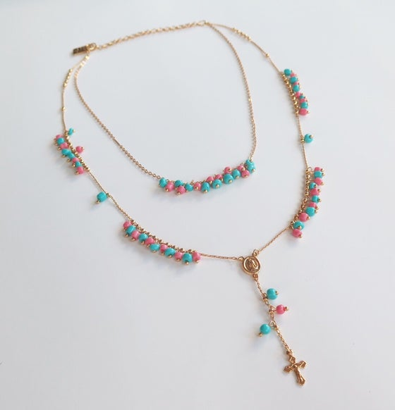 Image of Double Salmon and Turquoise Rosary