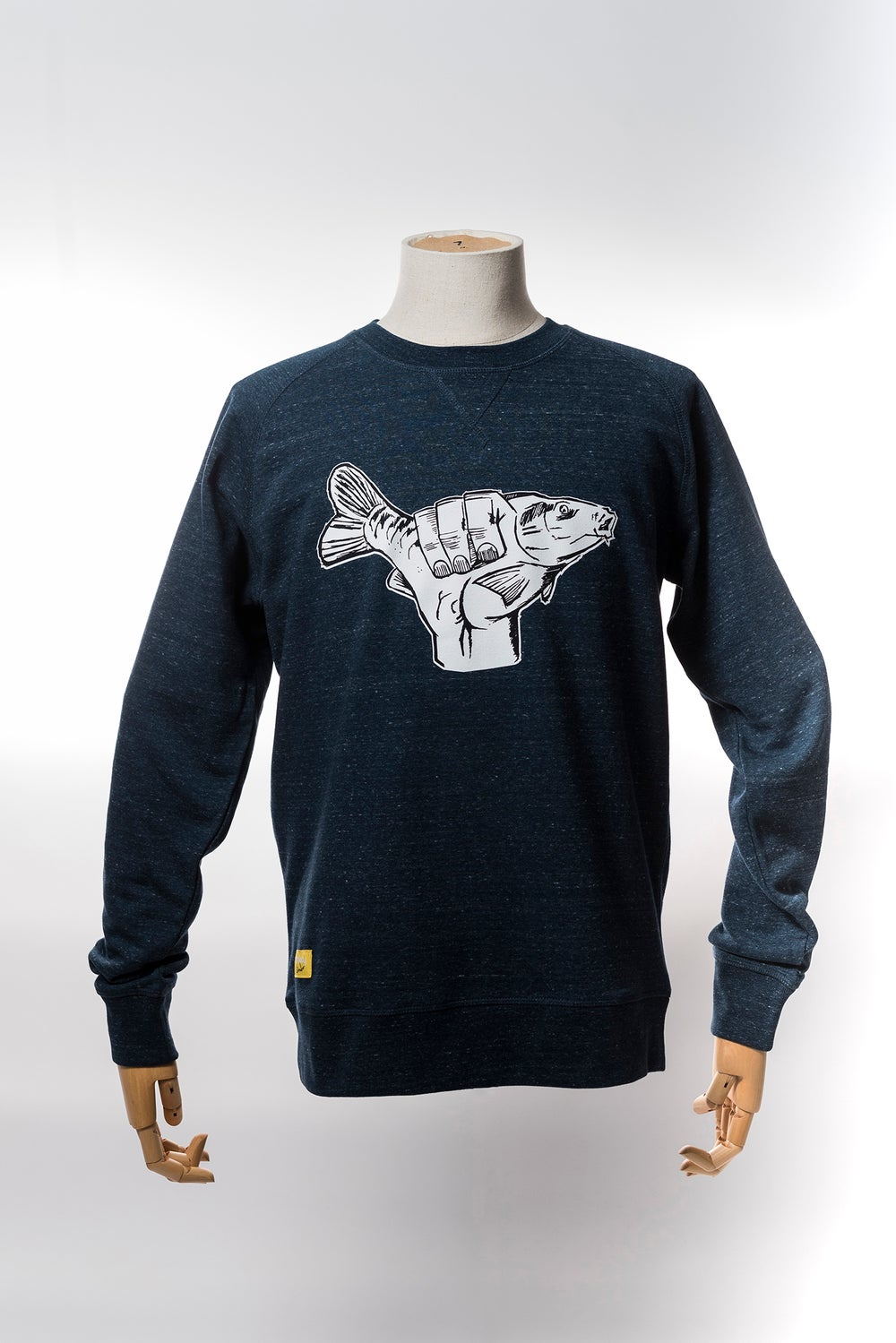 Image of Monkey Climber Carp Shaka crewneck I Heather Green - Denim - Teal