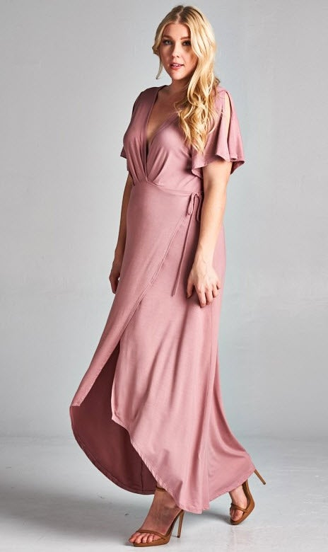 Image of Mauve Wrapped Dress -Curvy