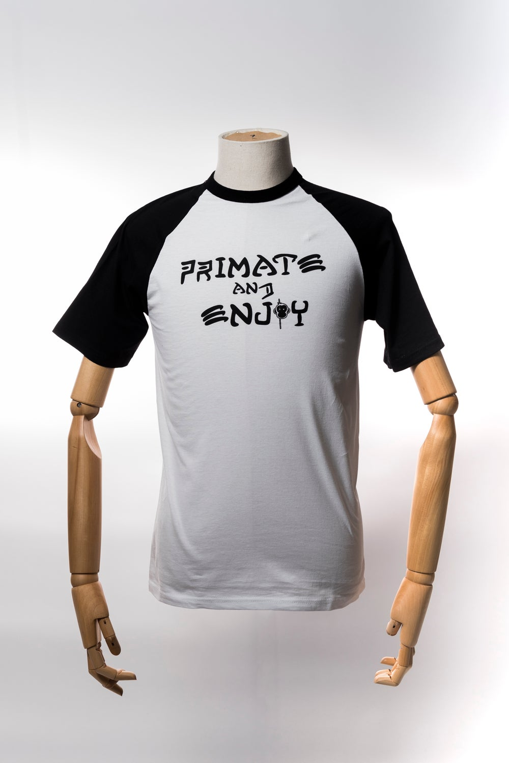 Image of Monkey Climber Primate and Enjoy shortsleeve raglan I Black & White