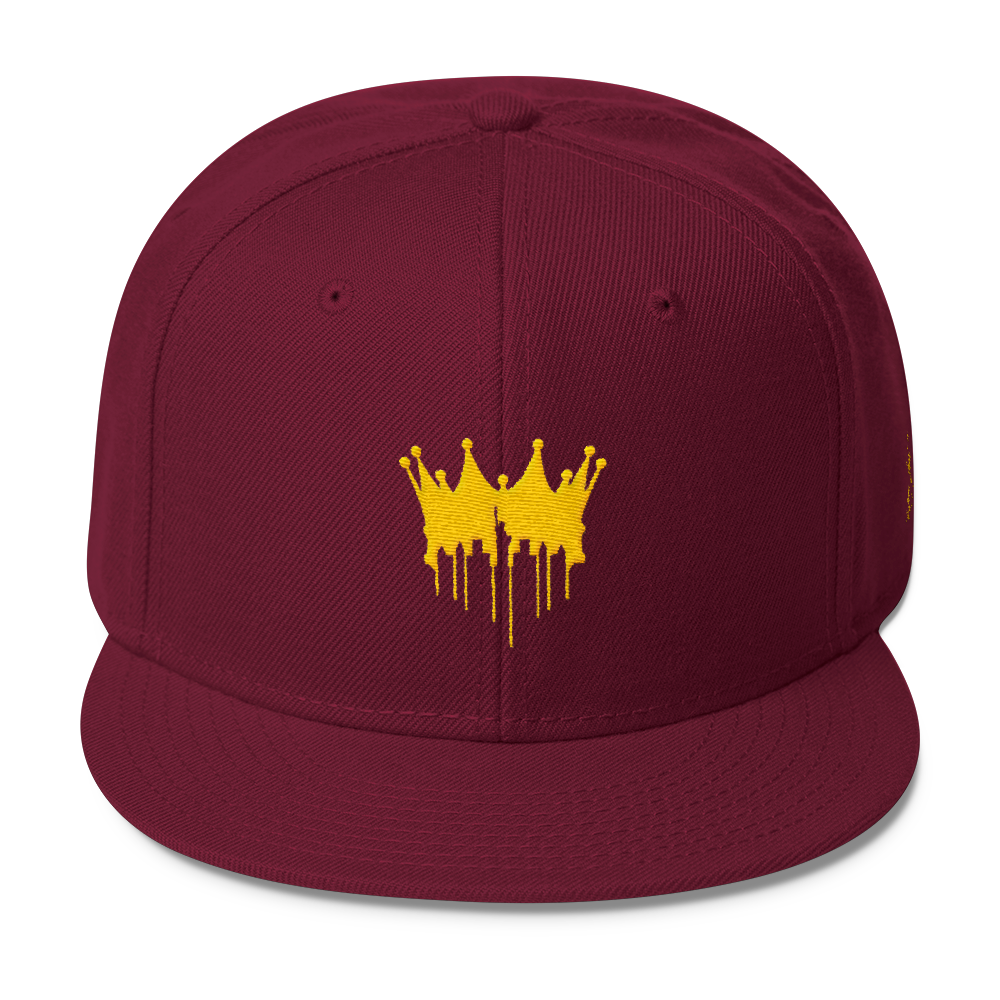 Image of CITY OF KINGZ - BURGUNDY AND GOLD SNAPBACK