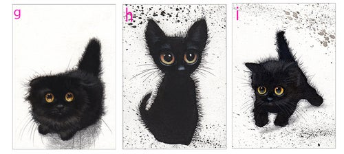Image of Black Kitties, ACEO prints