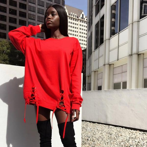 Image of 'Menace' Oversized Sweatshirt Dress in CHERRY