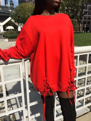Image of 'Menace' Oversized Sweatshirt Dress in CHERRY