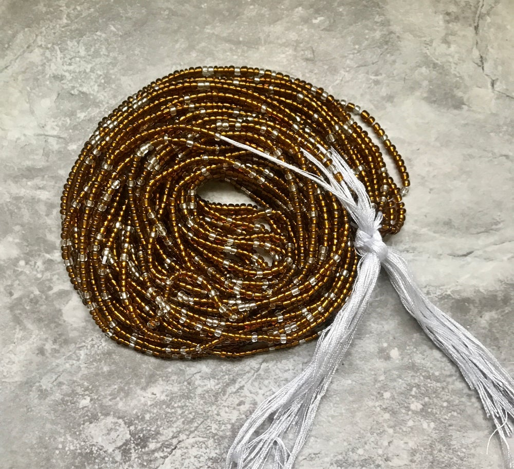 Image of Brown and clear tie waistbead