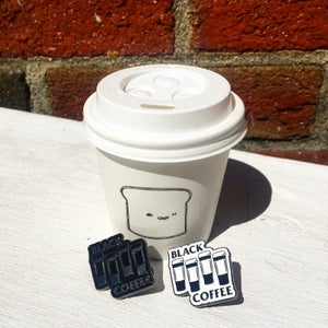 Image of Black Coffee Pin, Patch, Stickers, Totes and Mugs