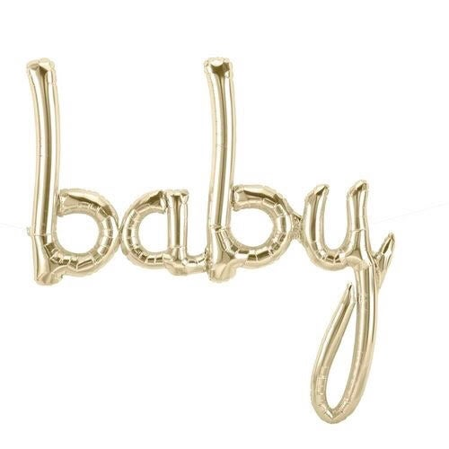 Image of Gold {Baby} Script Balloon