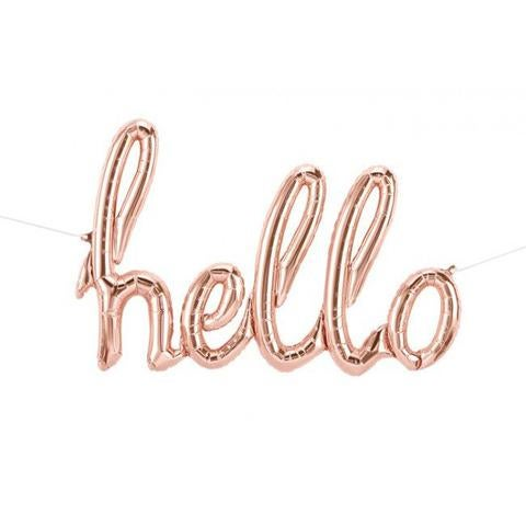 Image of Rose Gold {Hello} Script Balloon