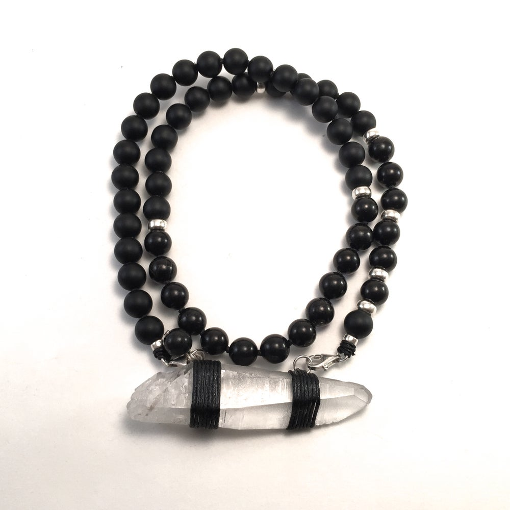 Image of Infinite Purpose Mala. Onyx & Lemurian Crystal