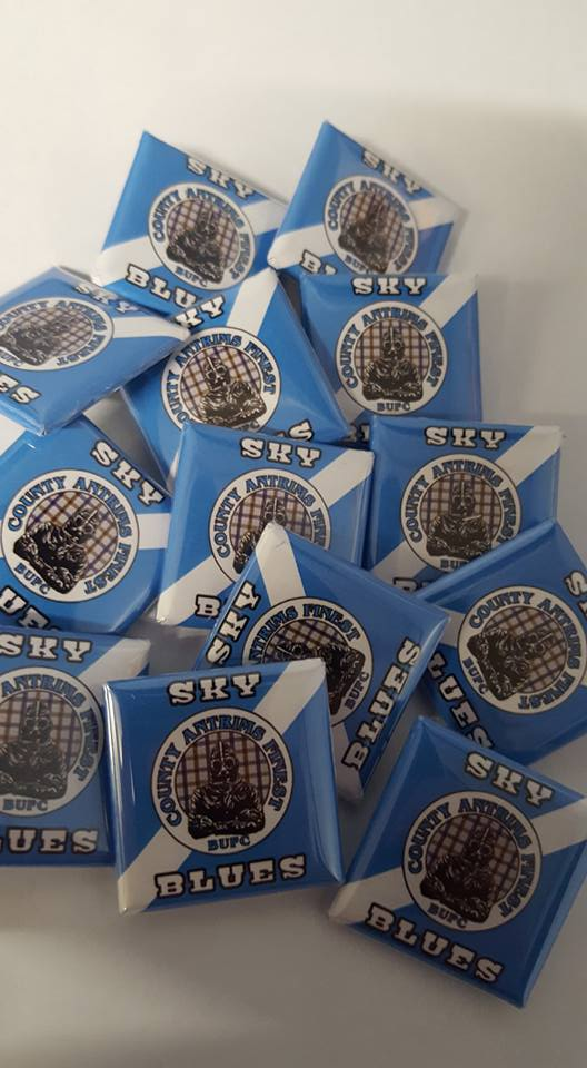 Ballymena United FC Sky Blues Co Antrims Finest Brand new 25mm Football Badges.
