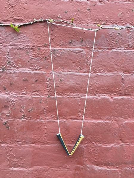 Image of Porcelain necklace, silk chord in petal (2)
