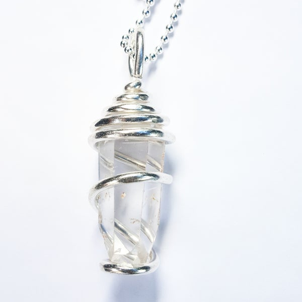 Image of .999 Fine Silver Wrapped Clear Quartz