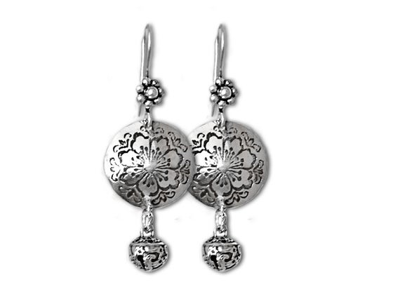 Image of Kahlo-style Sterling Silver Domed Hibiscus and Bell Earrings