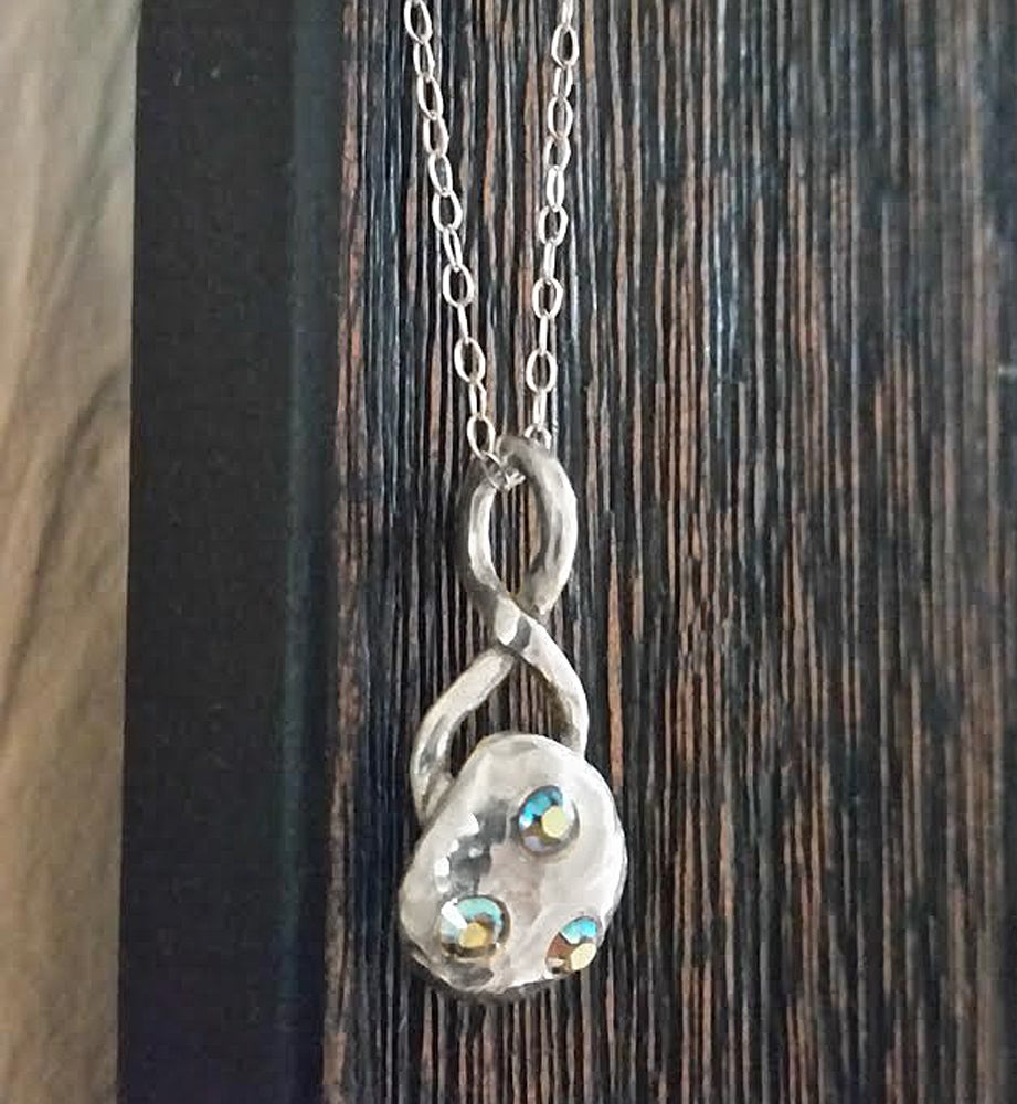 Image of Sterling Pebble Infinity Necklace - Organic - Minimalist