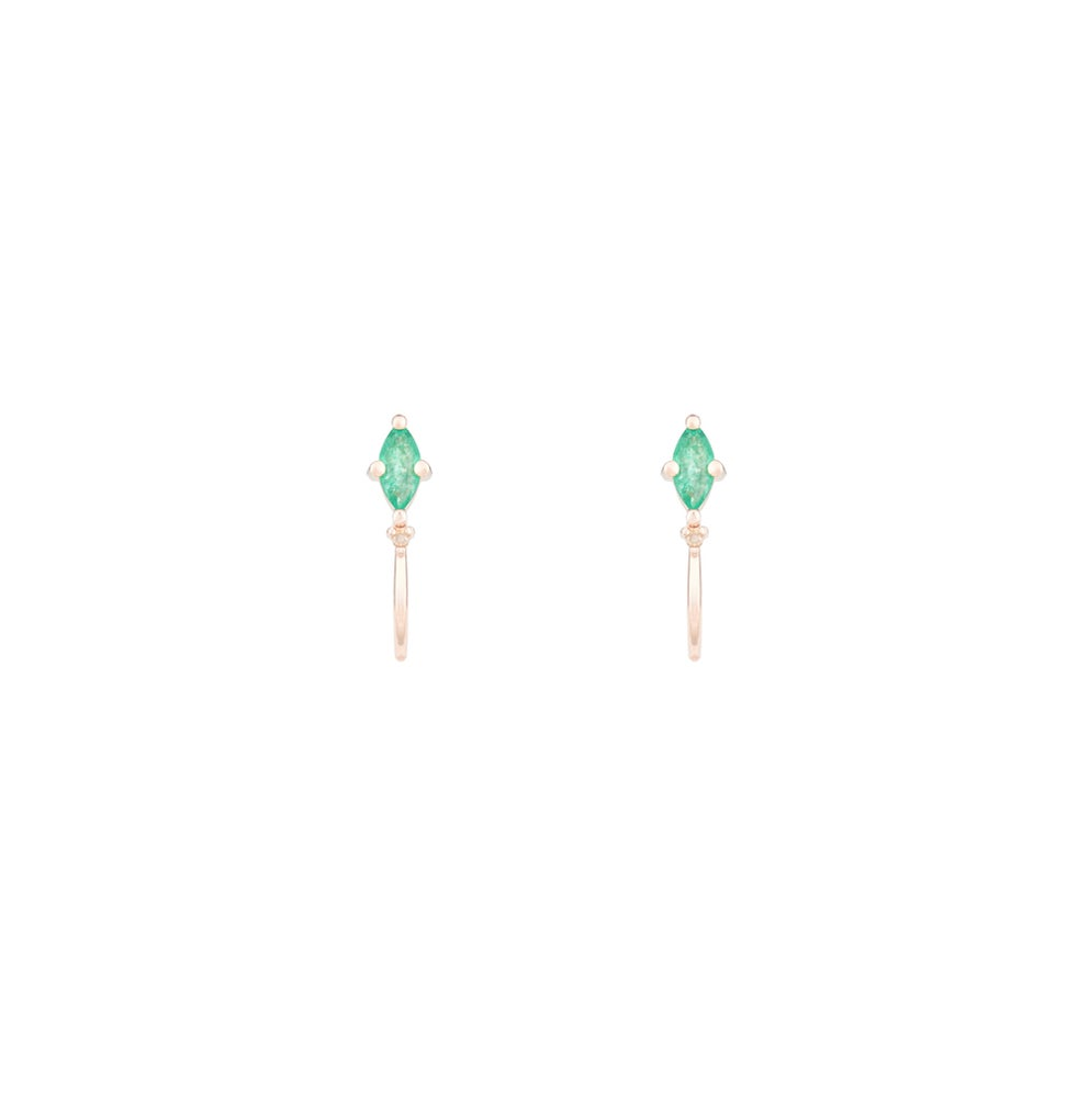 Image of Emerald Marquise Mini Hoop Earring