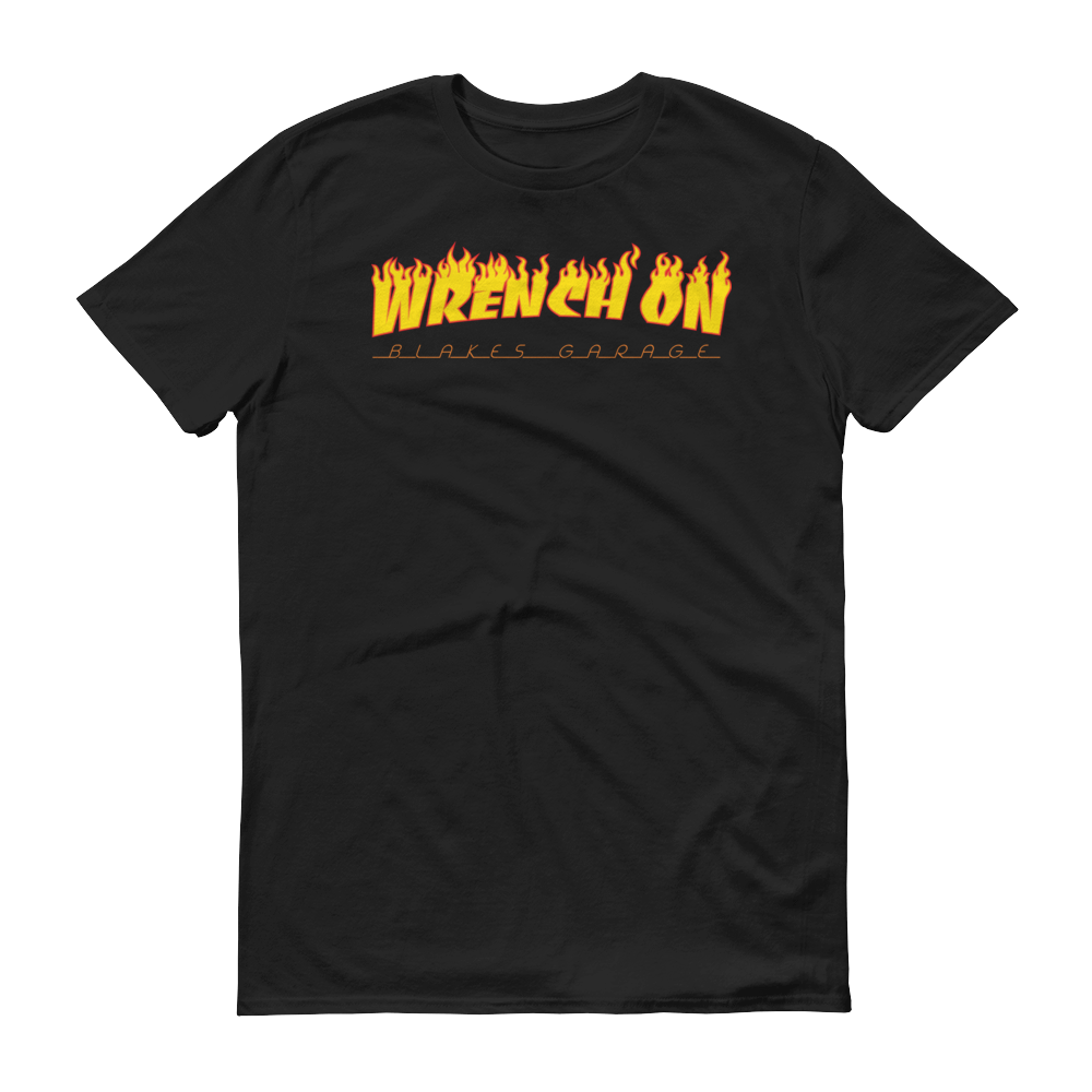 Image of WRENCH ON SHIRT FLAMES Black