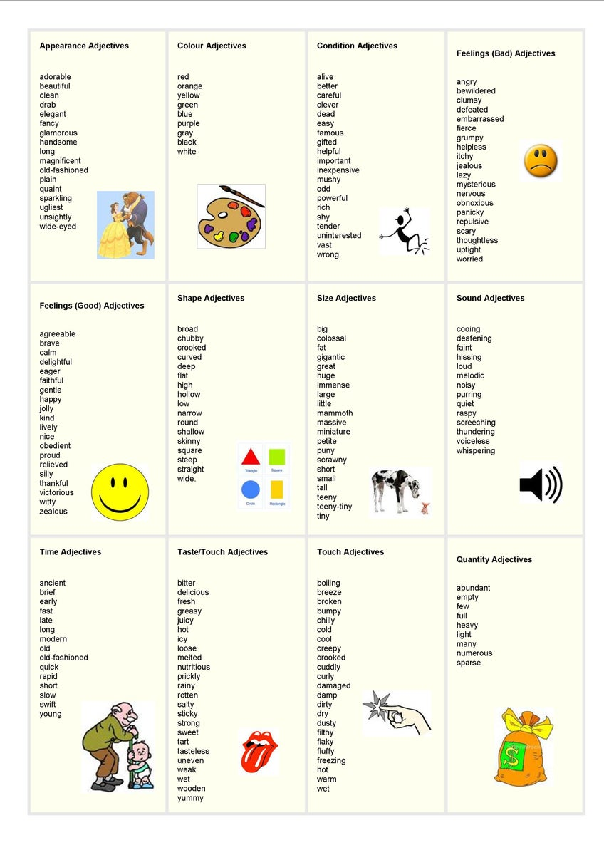 list of adjectives - HD 800×1132