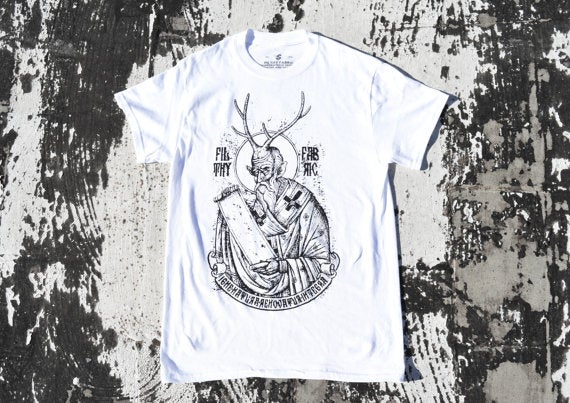 "Image of ""Deer Lord"" White T-Shirt / Black Print"