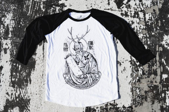 "Image of ""Deer Lord"" 3/4 Baseball T-Shirt (Black and White)"