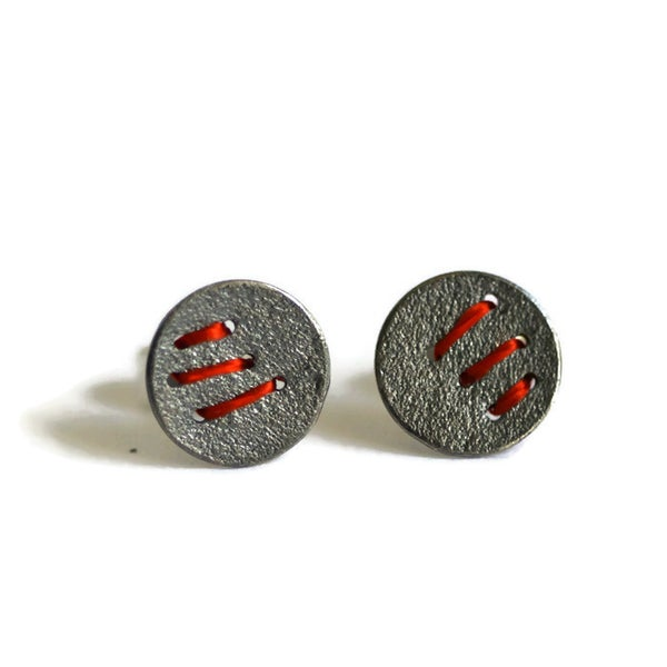 Image of Sewn Up Earrings with 3 stitches