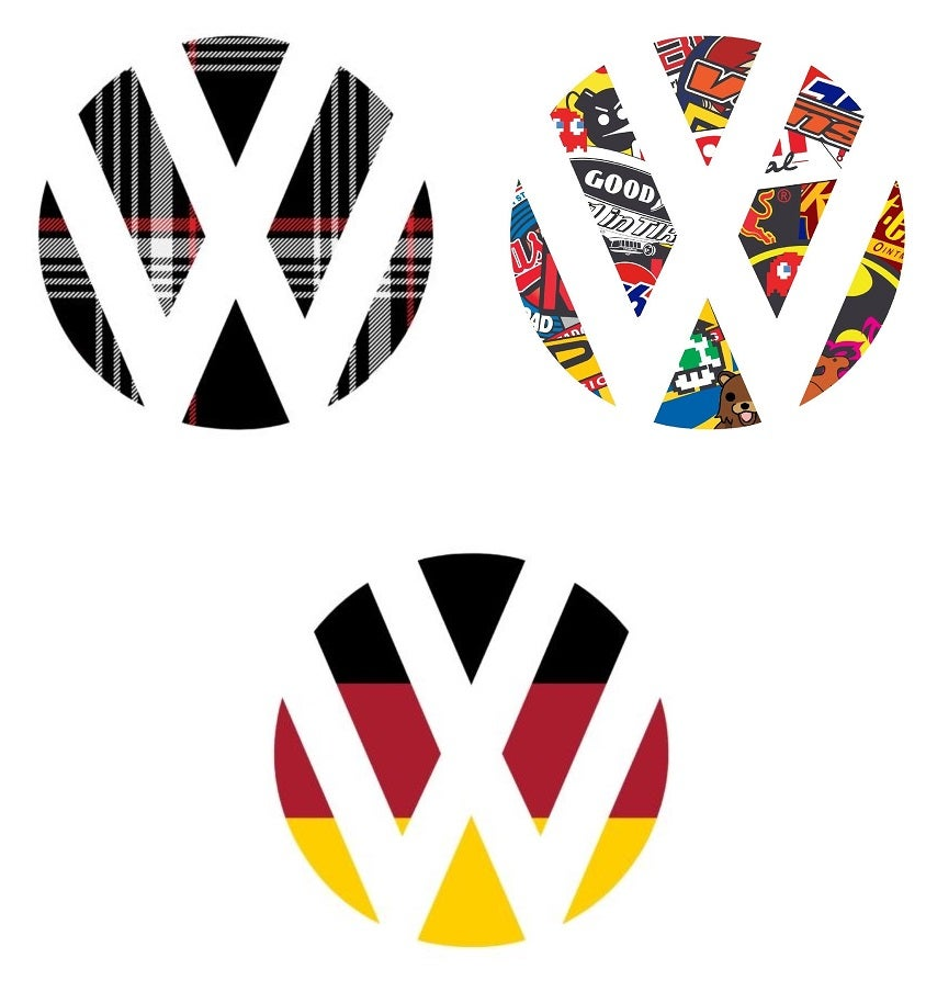 Image of Plaid /German Flag / Sticker bomb Rear Badge Vinyl inserts Fits: MK4 / MK5 / MK6 GOLF