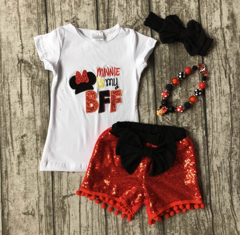 Image of Minnie is my BFF short set, baby, toddler, girl, photos, summer, vacation