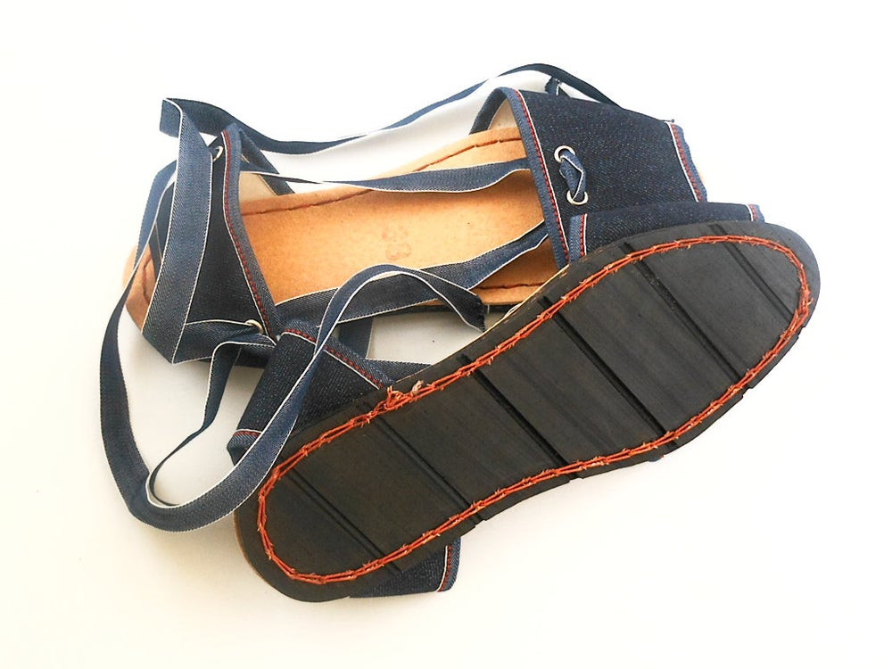Image of Flat Albarca Espadrilles - A1V - Denim & Vegan - 36 to 41 EU sizes
