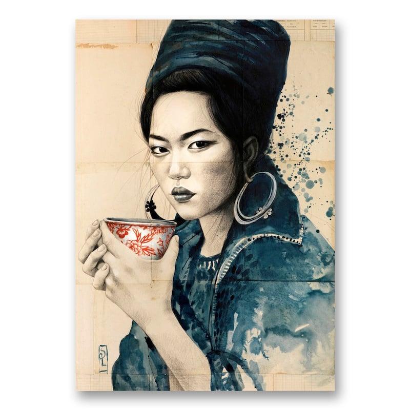 """Image of Canva Art Print - """"Pause thé chez les Hmong noirs"""""""
