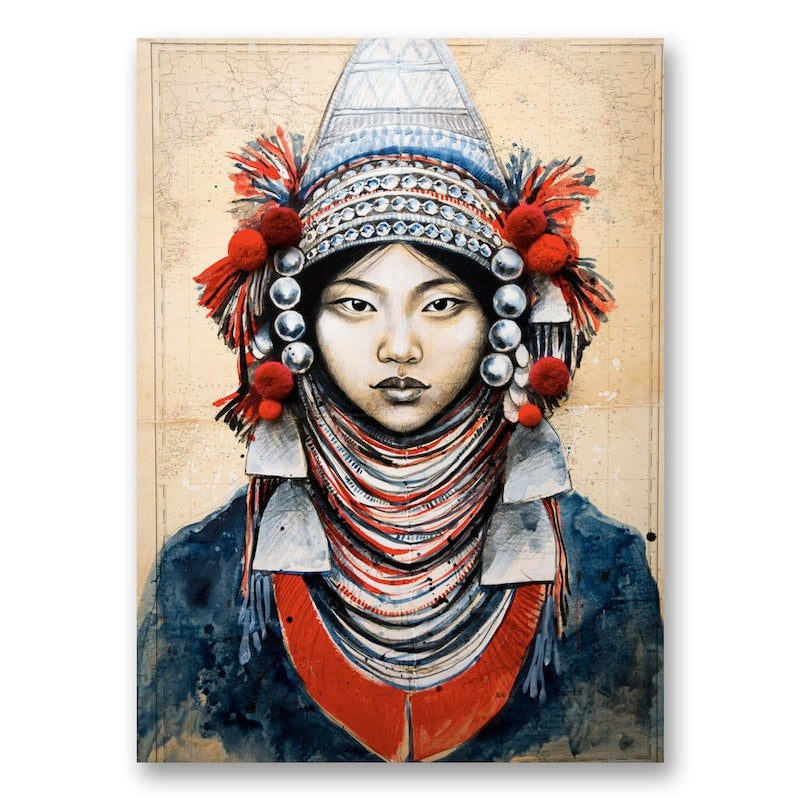 "Image of Canva Art Print - ""Akha et Pompons"""