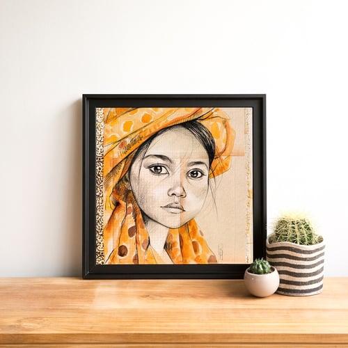 "Image of Paper Art Print - ""Le voile jaune"""
