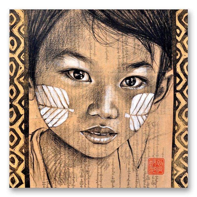 "Image of Paper Art Print - ""Joues au thanaka"""
