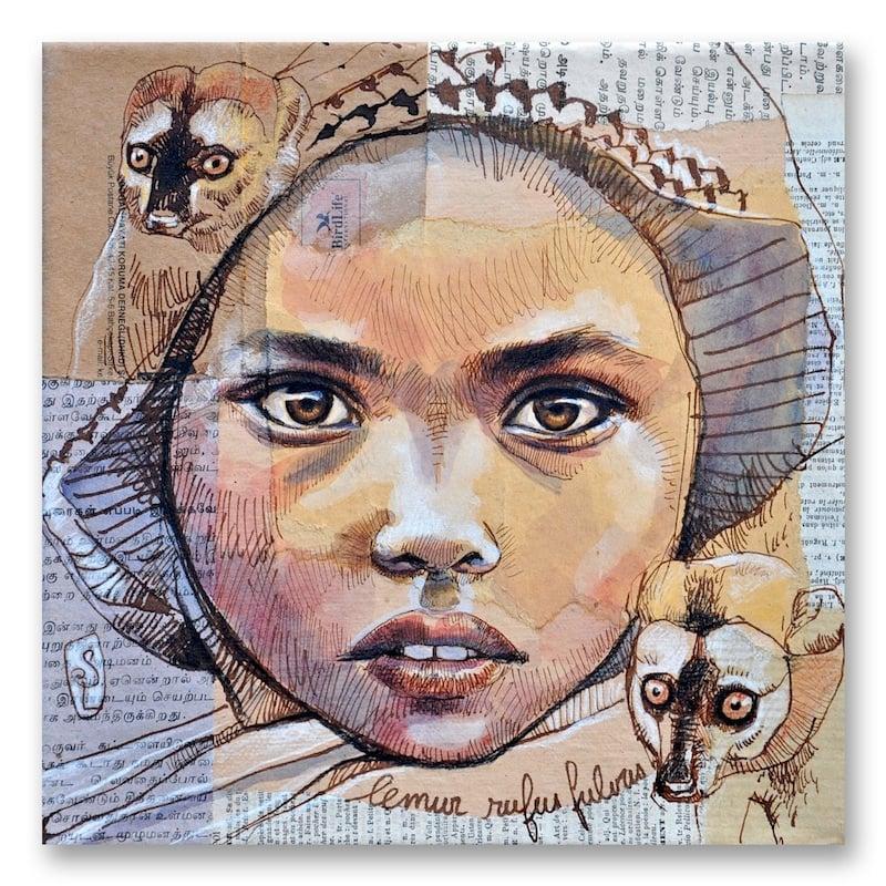 """Image of Paper Art Print - """"Les lémuriens"""""""
