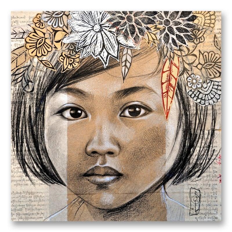 """Image of Paper Art Print - """"La couronne de feuilles"""""""