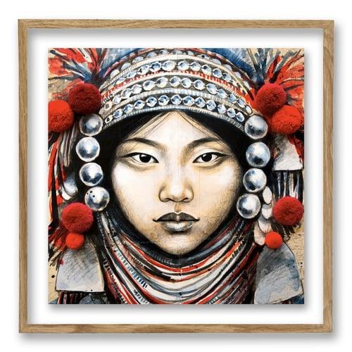 "Image of Paper Art Print - ""Akha et Pompons"""