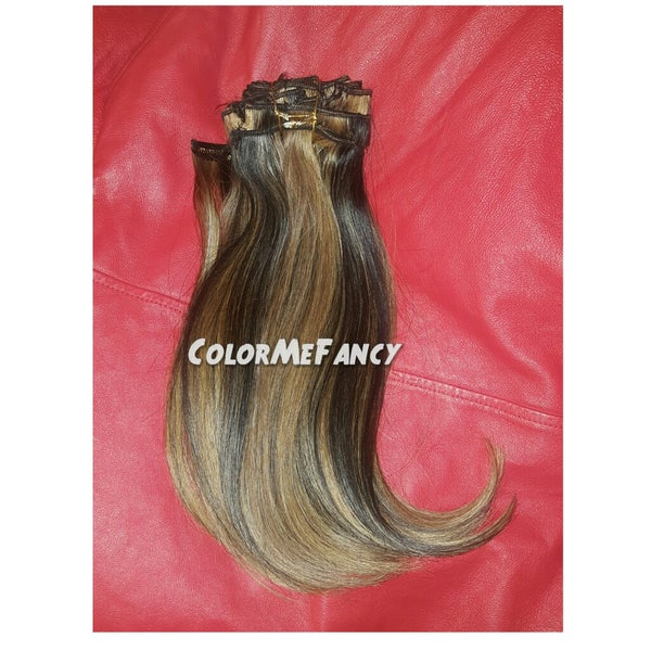 Image of Clip In Hair Extensions Custom Colored