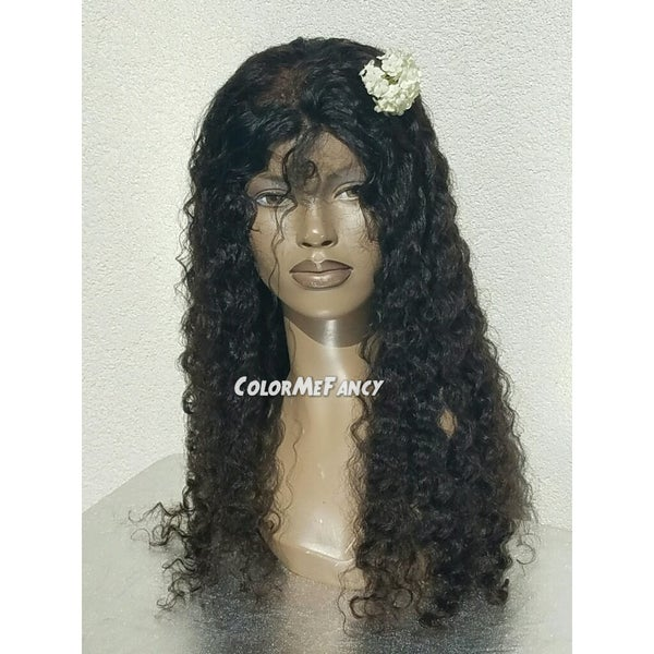 Image of Virgin Brazilian Curly Front Lace Wig 20""